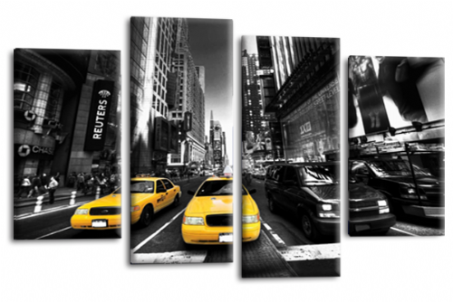 NEW YORK TAXI WALL ART YELLOW WHITE GREY CITY SPLIT CANVAS 4 PANEL